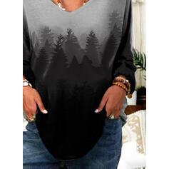 Nadruk Las Dekolt w kształcie litery V Długie rękawy Casual T-shirty