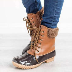 Női PU Alacsony sarok Csizma Martin csizmák -Val Lace-up cipő