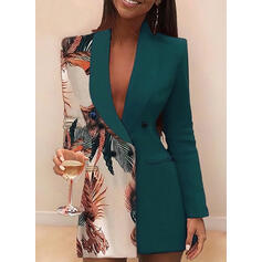 Print Long Sleeves Sheath Above Knee Casual/Elegant Dresses