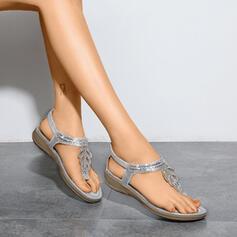 Mulheres Microfibra Sem salto Sandálias Peep toe com Strass sapatos