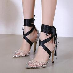 Donna PU Tacco a spillo Stiletto con Allacciato scarpe