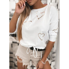 Heart Print Round Neck Long Sleeves T-shirts