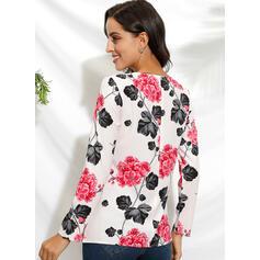 Impresión Floral Cuello redondo Manga Larga Casual Blusas