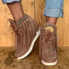 Frauen Veloursleder Flascher Absatz Stiefel Stiefelette mit Zuschnüren Schuhe