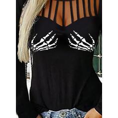 Impresión Cuello redondo Manga Larga Casual Blusas