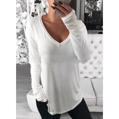 Solide V-hals Lange Mouwen Casual T-shirts