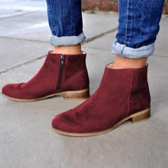 Women's Suede Low Heel Boots With Zipper shoes