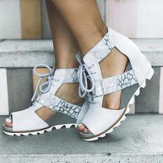 Femmes PU Talon compensé Sandales Plateforme Compensée À bout ouvert avec Dentelle chaussures