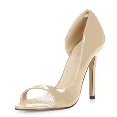 Frauen Lackleder Stöckel Absatz Sandalen Absatzschuhe Peep Toe Schuhe