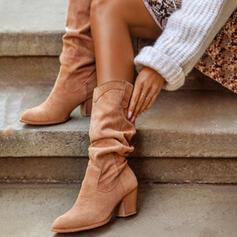 Női PU Chunky sarok Mid-Calf Csizma Sarok Kerek lábujj -Val ruched Szolid szín cipő