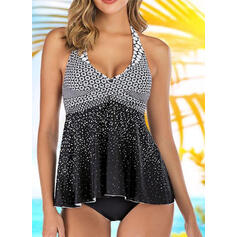 Dot Halter Casual Tankinis Swimsuits