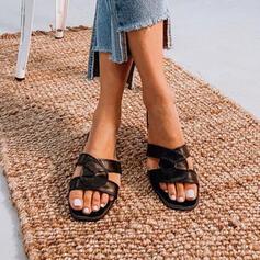De mujer PU Tacón plano Sandalias Encaje con Color sólido zapatos