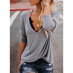 Einfarbig V-Ausschnitt Lange Ärmel Freizeit T-shirts