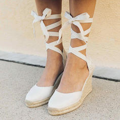 Women's Fabric Wedge Heel Wedges With Lace-up shoes