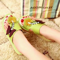 Femmes Similicuir Talon plat Sandales Chaussures plates Compensée À bout ouvert avec La copie Animale chaussures