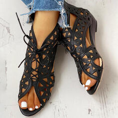 Pentru Femei PU Toc jos cu De la gât înafară pantofi