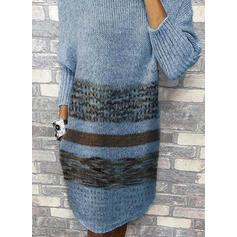 Drucken Rundhalsausschnitt Freizeit Lang Pulloverkleid