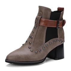 De mujer Cuero Tacón ancho Botas Botas longitud media Martin botas con Rivet Hebilla Banda elástica zapatos