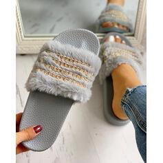 Vrouwen Fluwelen Flat Heel Flats Slippers met Keten Bont schoenen