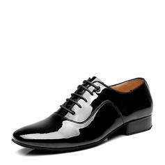 Men's Latin Modern Ballroom Swing Patent Leather With Lace-up Latin