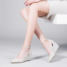 Femmes Vrai cuir Talon compensé Compensée avec Boucle Ouvertes chaussures