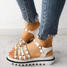 Donna PU Senza tacco Sandalo Punta aperta con Fibbia scarpe