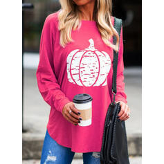 Print Round Neck Long Sleeves Casual Halloween T-shirts