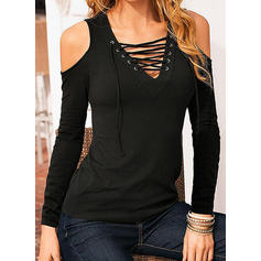 Solid V-Neck Long Sleeves Casual T-shirt