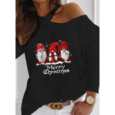 Print Figure One-Shoulder Long Sleeves Casual Christmas Blouses
