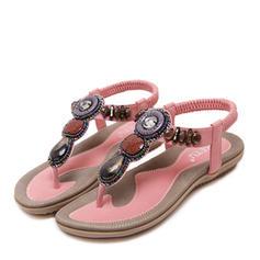 Femmes Similicuir Talon plat Sandales Chaussures plates Tongs avec Strass Brodé chaussures