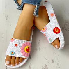Femmes PU Talon plat Sandales À bout ouvert avec Une fleur chaussures