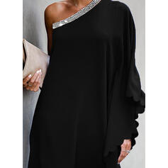 Sequins/Solid Long Sleeves/Batwing Sleeves Shift Above Knee Little Black/Party Dresses
