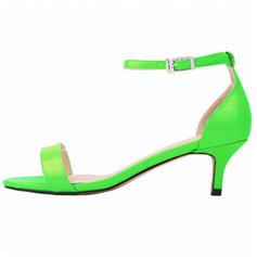 Femmes Cuir verni Talon bas Sandales À bout ouvert chaussures
