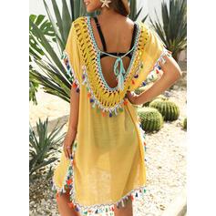 Solid Color Tassels V-Neck Boho Cover-ups Swimsuits