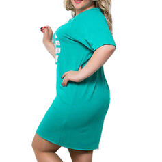 Print Short Sleeves Shift Above Knee Casual/Plus Size Dresses