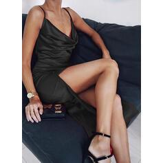 Sólido Sin mangas Cubierta Sobre la Rodilla Pequeños Negros/Sexy/Fiesta Camisón Vestidos