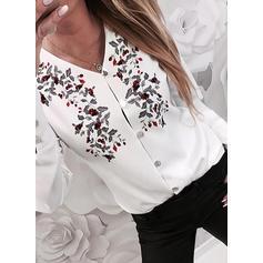 Floral PolkaDot V-Neck Long Sleeves Casual Blouses