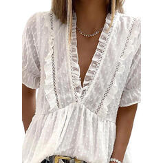 Solid V-Neck Short Sleeves Casual Elegant Blouses