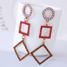 Square Alloy Rhinestones With Rhinestone Women's Fashion Earrings (Set of 2)