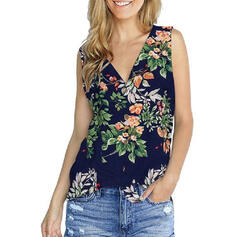Print Floral V-Neck Sleeveless Button Up Casual Tank Tops