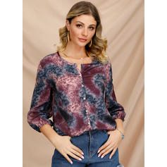 Floral V-Neck 3/4 Sleeves Button Up Casual Blouses