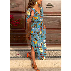 Print/Floral 1/2 Sleeves A-line Maxi Casual/Vacation Dresses