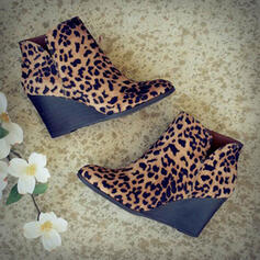 Women's PU Wedge Heel Ankle Boots With Zipper shoes