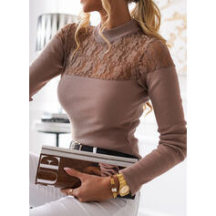 Solid Lace Stand collar Long Sleeves Elegant Knit Blouses