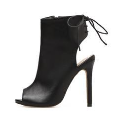 Mulheres PU Salto agulha Bombas Botas Peep toe Sapatos abertos Bota no tornozelo com Aplicação de renda sapatos