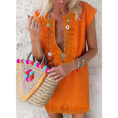 Print Short Sleeves Shift Above Knee Casual/Boho/Vacation Tunic Dresses