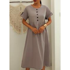 Jednolita Krótkie rękawy Koktajlowa Casual/Wakacyjna Midi Sukienki