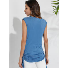 Solid V-Neck Sleeveless Casual Sexy Tank Tops