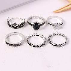 Fashionable Alloy Rhinestones With Rhinestone Women's Rings (Set of 6 pairs)
