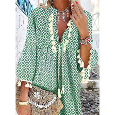Print 3/4 Sleeves/Flare Sleeves Shift Above Knee Casual/Boho/Vacation Dresses